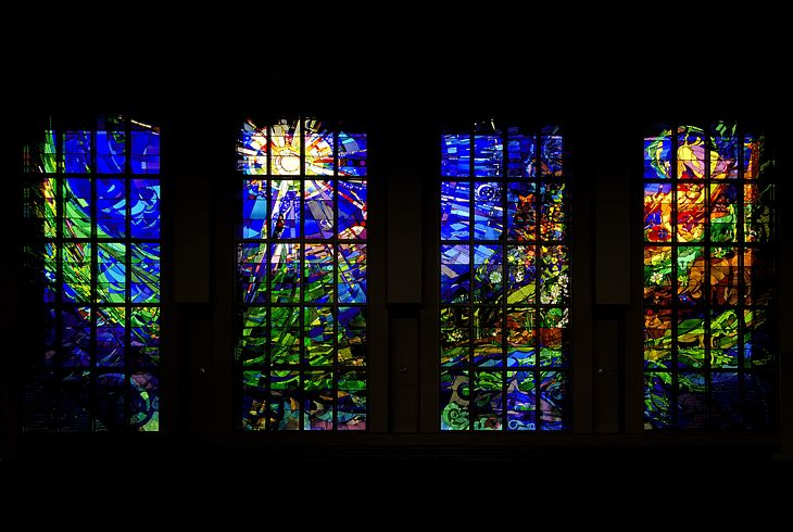 Stephen Wilson Stained Glass Architectural Commissions Holy Ghost Catholic Church Creation Windows View